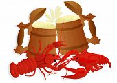 stock photo of crawfish  - Two wooden mugs of beer and two boiled crawfish - JPG