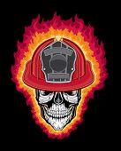 Flaming Firefighter Skull and Helmet