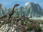 Prehistoric Scene With Compsognathus Dinosaurs