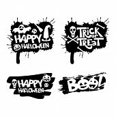 Happy Halloween, Trick Or Treat, Boo Isolated Quote Design Elements. Vector Holiday Illustration. poster