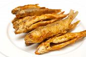 Deep Fried Fishes Isolated On White Background
