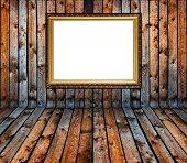 Vintage Old Grunge Wooden Plank Interior With Golden Frame