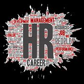 Concept conceptual hr or human resources career management brush or paper word cloud isolated backgr poster