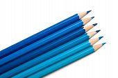 Set Of Colored Pencils, Blue Palette