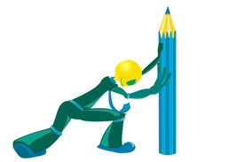 stock photo of budge  - Little strong man tries to budge pencil - JPG