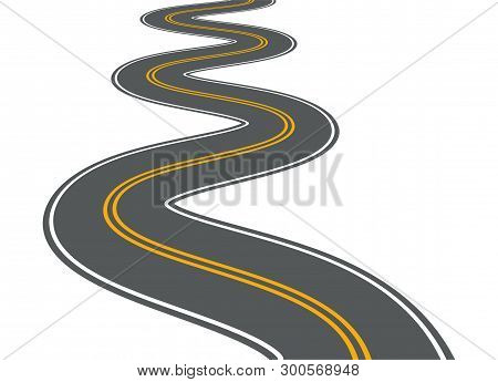 poster of Winding Road Vector Highway Path Long Street Asphalt Isolated Perspective Road Way Journey Illustrat