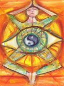 stock photo of metaphysical  - New age fine art inner balance with third eye and yin yang symbol - JPG