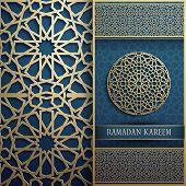 Calligraphy Means Ramadan Kareem In Arabic. Eid Mubarak Vector Design Decoration. Ornamental Lantern poster