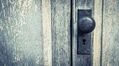 Old Lock On The Door. Lock On The Door Of An Old Farmhouse. True Village Style, Close-up Focus On Lo poster