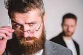 Hipster Style And Fashion. Hipster Eyeglasses. Man Handsome Bearded Hipster Wear Eyeglasses. Eye Hea poster
