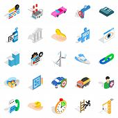 Private Company Icons Set. Isometric Set Of 25 Private Company Icons For Web Isolated On White Backg poster