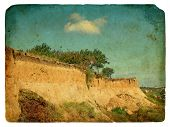 Landslide Of Soil, Natural Hazards. Old Postcard.