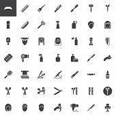 Barber Shop Vector Icons Set, Modern Solid Symbol Collection, Filled Style Pictogram Pack. Signs Log poster