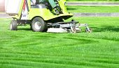 Exactly Trimmed Green Lawn. Green Grass Trimming With Professional Lawn Mower Machine. poster