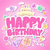 pic of happy birthday card  - Happy Birthday pink card for girls - JPG
