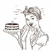 Retro Smiling Housewife Holding Big Cake In Her Hands.vector Graphic Illustration poster