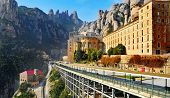 MONISTROL DE MONTSERRAT, SPAIN - FEBRUARY 11: Abbey of Santa Maria de Montserrat on February 11, 201