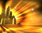foto of high-rise  - Orange and yellow business office block skyscraper illustration - JPG