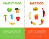 Food Choice, Healthy And Junk Food Banner Template With Place For Text, Fresh Vegetables Or Fast Foo poster