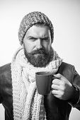 Serious Bearded Man Drinking Morning Espresso Coffee. Handsome Male Business Man Having Coffee. Bear poster