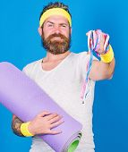 Man Bearded Athlete Hold Fitness Mat And Tape Measure. Athlete Guide Stay In Shape. Old School Aerob poster