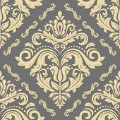 Classic Seamless Vector Pattern. Damask Orient Ornament. Classic Vintage Gray And Golden Background. poster