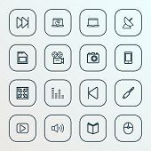Multimedia Icons Line Style Set With Widen, Smartphone, Laptop And Other Learning Elements. Isolated poster