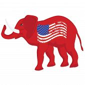 Elephant - Political Symbol Of Republicans - Grunge Usa Flag - Vector. Us Political Parties poster
