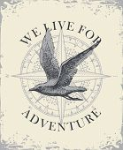 Retro Banner With Hand Drawn Seagull And Wind Rose With Words We Live For Adventure. Vector Illustra poster