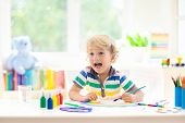 Kids Paint. Child Painting. Little Boy Drawing. poster