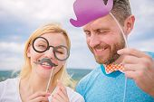 Humor And Laugh Concept. Couple Posing With Party Props Sky Background. Photo Booth Props. Man With  poster