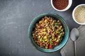 Quinoa Salad Bowl With Colorful Vegetables: Green Beans, Carrot, Corn, Bell Pepper, Peas And Two Cup poster