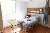 Bed In Empty Hospital Private Room poster