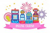 Casino Banner Web Design Vector Illustration. Win Jackpot In Game Slot Machine. Gaming Machine, Fort poster
