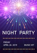 Night Party Poster With Fireworks Vector Illustration. Fireworks Festival Bursting In Various Shapes poster