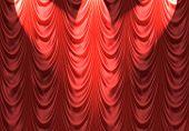Spotlight On Red Curtain
