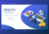 3d Isometric Web Banner Family Standing With Stethoscope On Health Insurance Document And Laptop. He poster