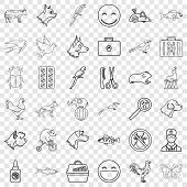 Domestic Animal Icons Set. Outline Style Of 36 Domestic Animal Vector Icons For Web For Any Design poster