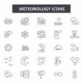Meteorology Line Icons, Signs, Vector Set, Linear Concept, Outline Illustration poster