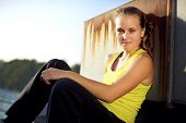 image of parkour  - Parkour Girl Freerunner in Fitness Clothing on Urban City Rooftop - JPG
