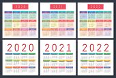 Calendar 2020, 2021, 2022 Years. Pocket Vector Calender. Colorful Set. Week Starts On Sunday. Basic  poster