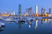 Skyline Of Kuwait City At Evening. Kuwait City, Kuwait. poster