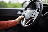 Man Hand Holding Car Steering Wheel - Male Hand Close Up Shallow Dof Depth Of Field Driving Car - Ha poster