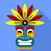 Tiki Idol Statue Icon. Flat Illustration Of Tiki Idol Statue Icon For Web Design poster