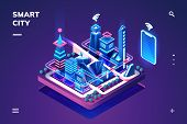 Smart City Or Isometric Town. 3d Skyscrapers And Smartphone With Wi-fi Or Internet Of Things, Iot Or poster