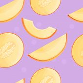 Cutted Melon Pattern. Cartoon Illustration Of Cutted Melon Pattern For Web Design poster