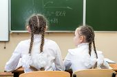 Schoolgirls Teenagers Sitting At The Table Watching The School Board On Ocher Turn Back Look Back. G poster