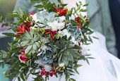Green Bridal Bouquet With Succulents, Bouquet Of Flowers, Wedding Bouquet On A Light Background poster