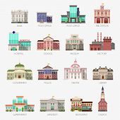 Government Houses. Municipal Office Bank, Buildings Hospital School University Police Station Librar poster