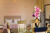 Hotel Room Interior, Hotel Room Bedroom, Hotel Room With Flower, Apartment Room With Flower, Hotel R poster